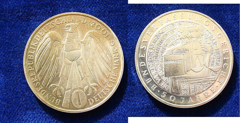 German 10 DM 2001 Silver Coin Constitutional Court.jpg