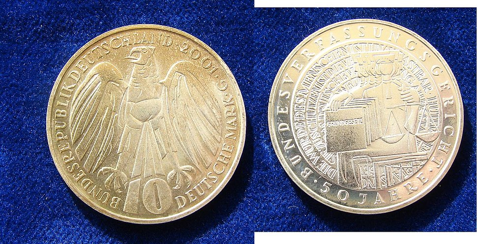 German 10 DM 2001 Silver Coin Constitutional Court.jpg