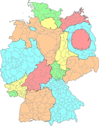 Cartogram - Cartogram of Germany, with the states and districts resized according to population