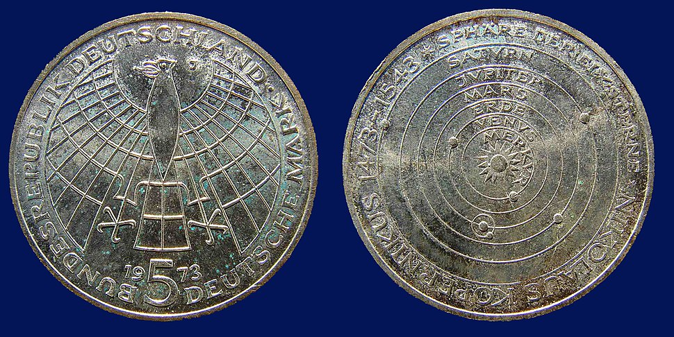Germany 5 Mark Silver Coin 1973 Copernicus 500th Birthday