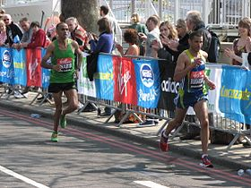 Gharib and Bouramdane, London Marathon 2011.jpg