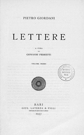 Pietro Giordani - Lettere e carteggi