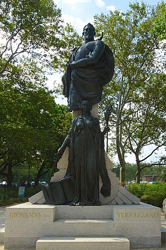 Giovanni da Verrazzano - Statue in Battery Park, Manhattan by Ettore Ximenes (1909)