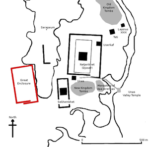 Gisr el-Mudir -  Gisr el-Mudir (Great Enclosure, red) on the map of Saqqara