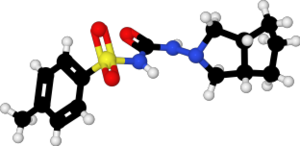 Gliclazide - Image: Gliclazide xtal 1999 ball and stick