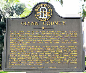 Glynn County, Georgia - Historical marker