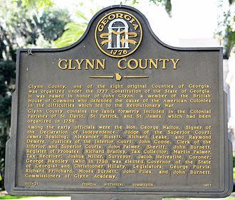 Glynn County, Georgia - Historical marker