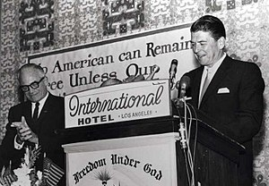 Barry Goldwater - Ronald Reagan speaks for presidential candidate Goldwater in Los Angeles in 1964.