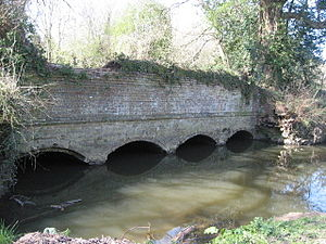 Cranleigh Waters - Ruins of Gosden Aqueduct which carried the Wey and Arun Canal over Cranleigh Waters.