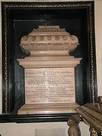Edward V of England - Sarcophagal urn of the presumed bones of Edward V and his brother, Richard of Shrewsbury, Duke of York