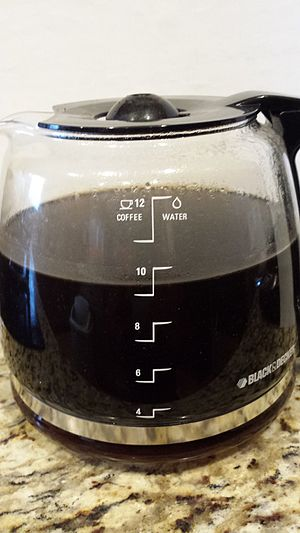Cup (unit) - Coffee carafe showing gradiations for measuring water (right) and brewed coffee (left) in multiples of non-standard U.S. customary cups.
