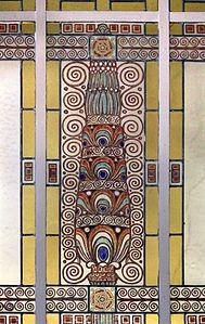 Grand hotel & la pace, vetrata di galileo chini in stile secessione, 1904 ca. 03