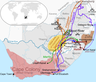 Great Trek Boer migrations away from British control in the eastern Cape Colony (1836-1852)