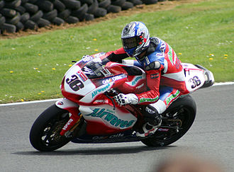 Oulton Park -  Gregorio Lavilla riding on the Airwaves Ducati at Oulton Park British Superbikes in May 2005.