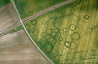 Cropmark - Cropmarks at a protohistoric site at Grézac, France