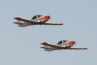 Israeli Air Force flight academy - A pair of Grob G-120A aircraft at the IAF cadet graduation ceremony