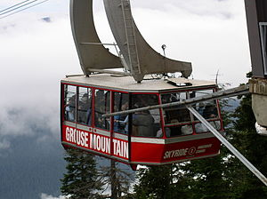 A closeup of the Grouse Mountain skyride