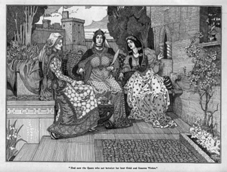 Three Welsh Romances - Guinevere with Enid and Vivien in Louis Rhead and George Rhead's illustration for Idylls of the King (1898)