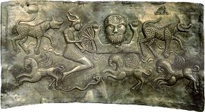 Taranis -  Gundestrup cauldron, created between 200 BC and 300 AD, is thought to have a depiction of Taranis on the inner wall of cauldron on tile C