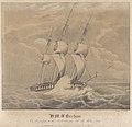 H.M.S. Barham On her passage to the Mediterranean with Sir Walter Scott on Sunday 6th Novbr 1831 Latde 48o 8' Noth Longde 5o 50' Wet RMG PY0779.jpg