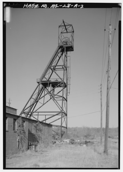 File:HEADFRAME, LOOKING NORTH-NORTHWEST. - Pyne Red Ore Mine, Headframe, State Route 150, Bessemer, Jefferson County, AL HAER ALA,37-BES.V,9A-2.tif
