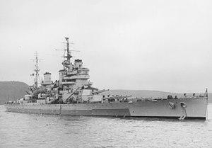HMS Anson (79) - Image: HMS Anson (79) at Devonport, March 1945