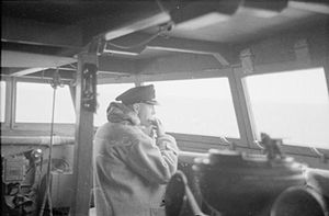 HMS Suffolk (55) - The captain of Suffolk, Robert Meyric Ellis, remains on the bridge for lunch whilst shadowing Bismarck