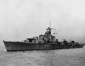 HMS Ulysses (R69) - Image: HMS Ulysses 1944 IWM FL 9289