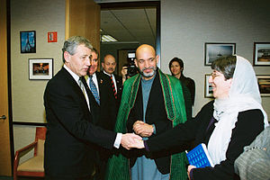Chuck Hagel - Hagel in a 2002 visit with Afghan President Hamid Karzai, and Afghan Minister of Women's Affairs Sima Samar