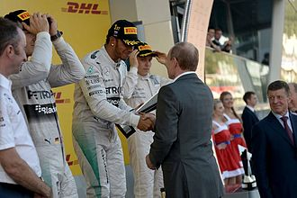 Russian Grand Prix - President Putin congratulates Lewis Hamilton, the winner of 2014 Russian GP