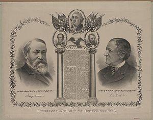 Presidency of Benjamin Harrison - Harrison–Morton campaign poster