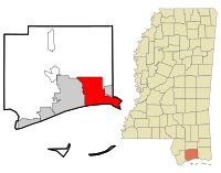 Harrison County Mississippi Incorporated and Unincorporated areas Biloxi Highlighted.svg