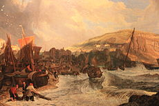 Hastings- Boats making the Shore in a Breeze, by John James Chalon, 1819