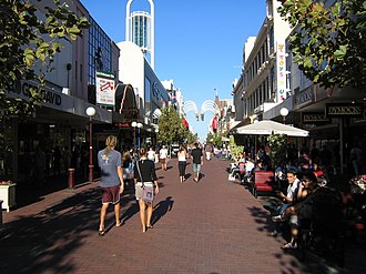 Hay Street, Perth - The section of Hay Street between Barrack Street and William Street is now a pedestrian mall.