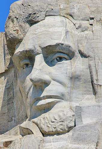 Lincoln's image carved into the stone of Mount Rushmore Head of Abraham Lincoln at Mount Rushmore.jpg