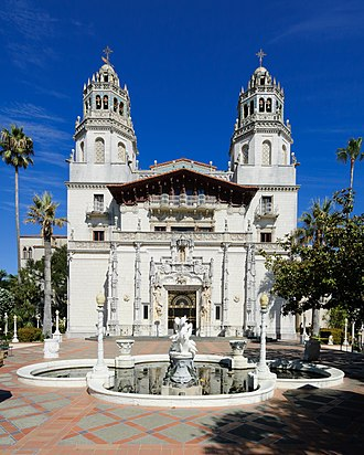 Hearst Castle - Casa Grande, inspired by the Church of Santa María la Mayor, Ronda, Spain, formed the centrepiece of Hearst's estate.