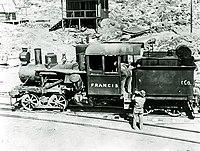 "Heisler locomotive No. 2 ""Francis"" on the wye track at Ryan (formerly Devar), circa 1916."