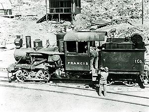 "Death Valley Railroad - Heisler locomotive No. 2 ""Francis"" on the wye track at Ryan (formerly Devar), circa 1916."