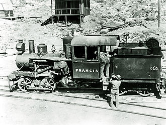 "Death Valley Railroad - Heisler locomotive No. 2 ""Francis"" on the wye track at Ryan (formerly Devar), circa 1916."