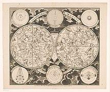 Hemelkaart met de noordelijke en zuidelijke sterrenbeelden Planisphaerium coeleste (titel op object), RP-P-AO-29-12.jpg