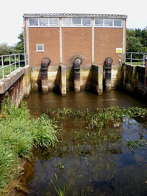 Beverley and Barmston Drain - Hempholme pumping station raises water from the low level Roam Drain to the high level Mickley Dike in the foreground