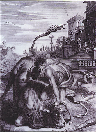 Cretan Bull - Heracles performing one of his labors as he forces the Cretan Bull to the ground. The engraving was created by B. Picart in 1731.