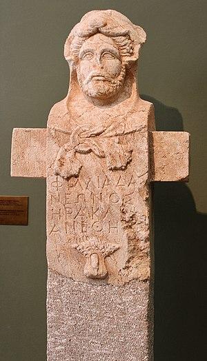 Herma - Herma with the head of Herakles (Hermherakles). Museum of Ancient Messene, Greece.