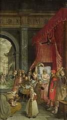 Deathbed of the Rich Man, with a Devil Descending to Retrieve the Deceased's Soul