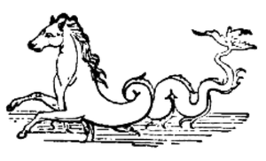 Water horse - The hippocamp (as seen in this sketch from Pompeii) is a water creature that has been referred to as a water horse.