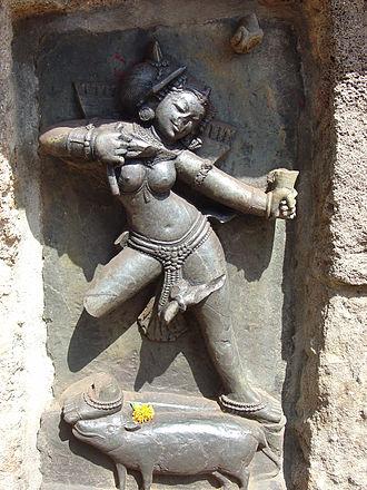 Yogini - One of the Yogini of Chausathi Jogini Temple at Hirapur, Odisha.