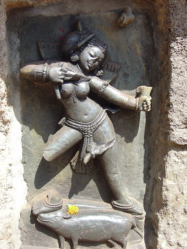 Chausath Yogini Temple, Hirapur The female version of Kama, god of love and desire, is seen here as she draws the bow, his primary attribute. Image credit: Wikipedia Commons