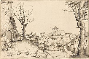 Augustin Hirschvogel - Castle yard, c. 1546. Etching, 140 × 213 mm, National Gallery of Art, Washington.