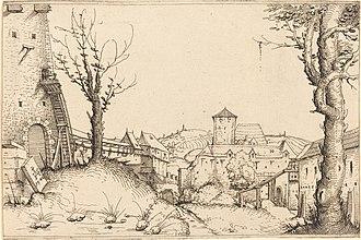 Augustin Hirschvogel - Castle yard, c. 1546. Etching, 140 × 213 mm, National Gallery of Art, Washington.