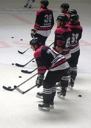 Hnat Domenichelli - Domenichelli (closest) while playing with HC Lugano in 2011